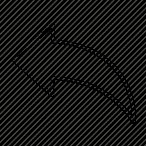 Direction, line, arrow, left icon