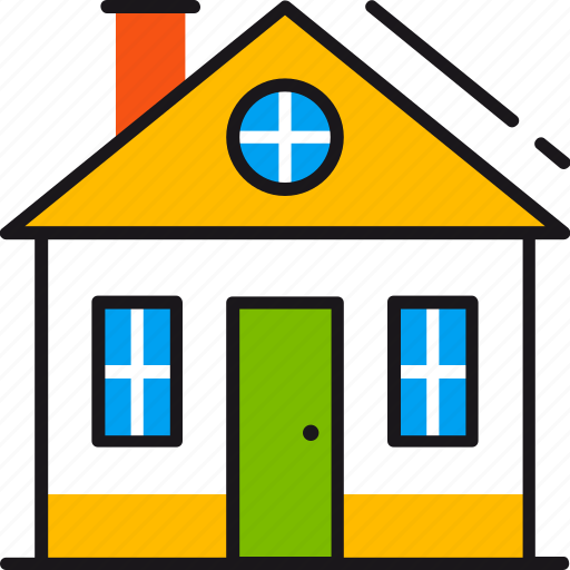 building, door, family, home, house, real estate, window icon