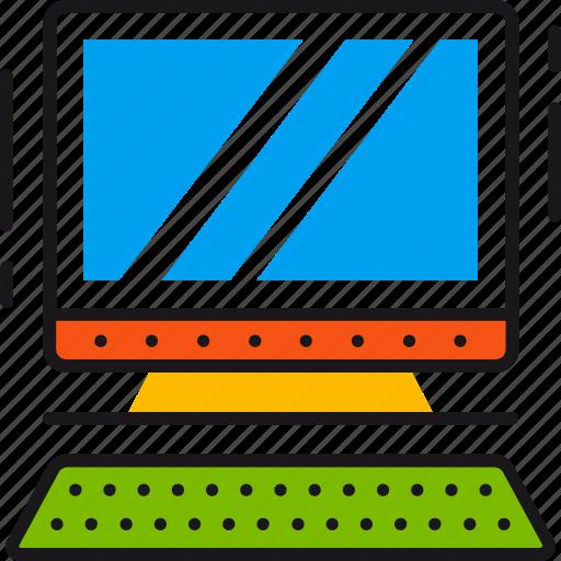 computer, desktop, device, keyboard, monitor, screen, technology icon