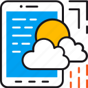 cloud, data, database, forecast, mobile, smartphone, weather icon