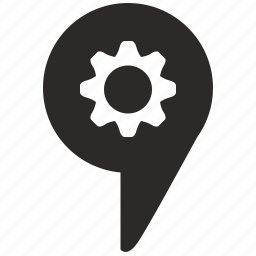 configuration, gear, geo, location, map, pointer icon