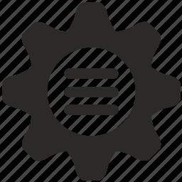 cog, cogwheel, configuration, gear, menu, option icon