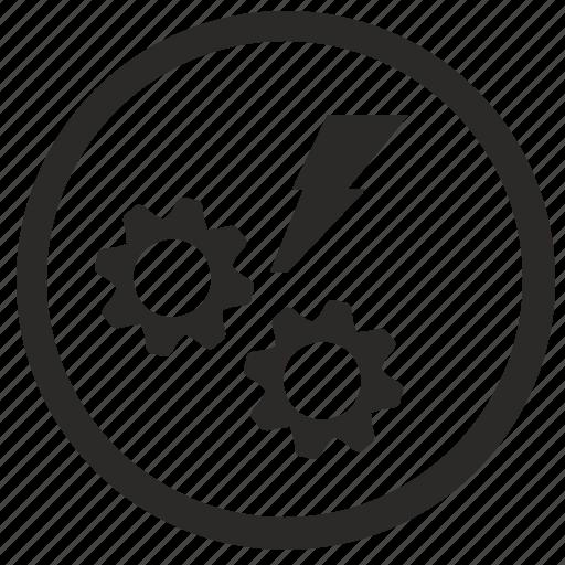 cog, cogwheel, engine, error, gear, round, shock icon
