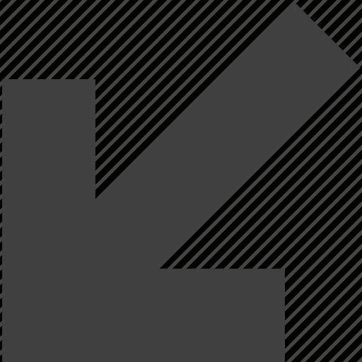arrow, direction, down, left, move, shape, ui icon