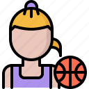 ball, basketball, player, sport, woman icon