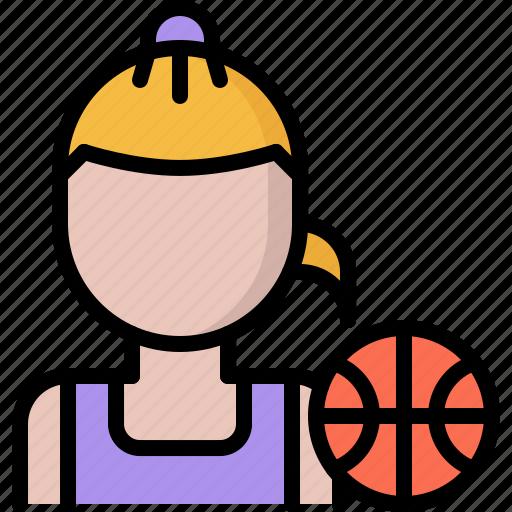 ball, basketball, player, sport, woman icon