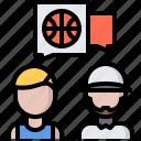 ball, basketball, coach, dialog, player, sport, talk icon