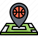 player, basketball, map, location, pin, sport, ball