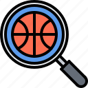 ball, basketball, magnifier, player, search, sport