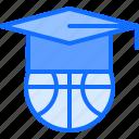 ball, basketball, cap, education, graduation, player, sport icon