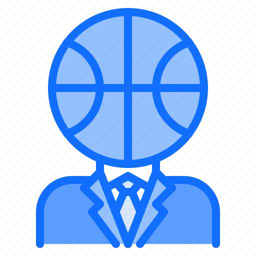ball, basketball, head, man, player, sport, suit icon