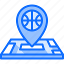 ball, basketball, location, map, pin, player, sport