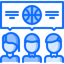 ball, basketball, dialog, match, player, sport, talk icon