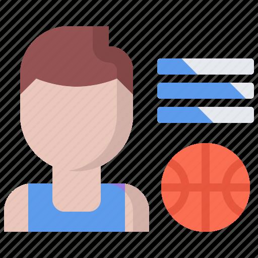 ball, basketball, data, man, player, skill, sport icon
