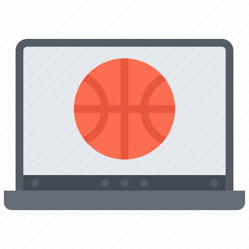 ball, basketball, laptop, online, player, sport, streaming icon