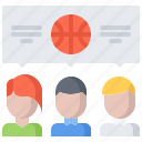 ball, basketball, dialog, match, player, sport, talk icon