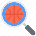 ball, basketball, magnifier, player, search, sport icon