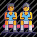bench, players, basketball icon