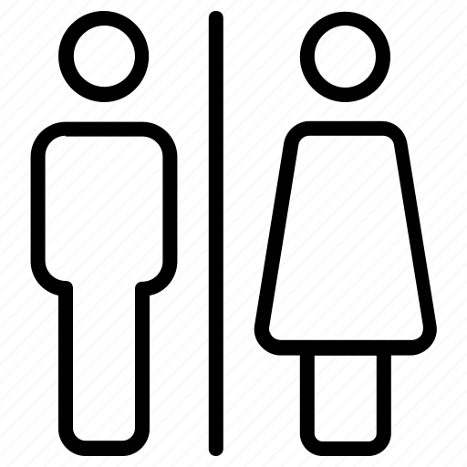 bathroom, female, male, people, sign, toilet icon