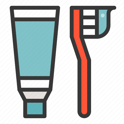bathroom, toothbrush, toothpaste icon