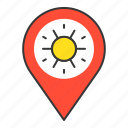 beach, location, pin, place, point, sunset icon