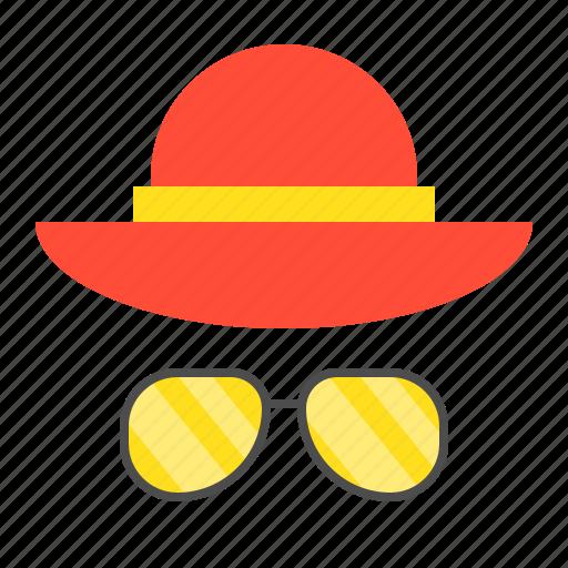 beach, beach scene, glasses, straw hat, sunglasses icon