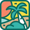 beach, holiday, nature, ocean, palm, sea, sunset, travel, trees, vacation icon