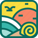 beach, holiday, shells, snails, summer, sunset, swallow, vacation icon