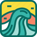 beach, holiday, summer, sunset, surf, surfing, travel, vacation, wave icon