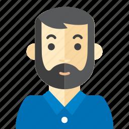 beard, casual, man, polo icon