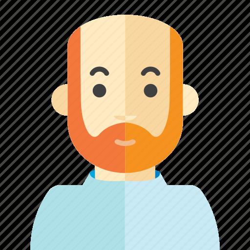 bald, beard, man, old icon