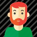 beard, casual, man, tee