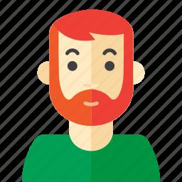beard, casual, man, tee icon