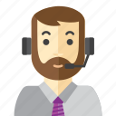 beard, call, man, office, staff icon