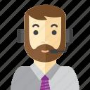 beard, man, call, office, staff