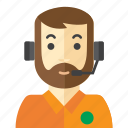 beard, call, customer, man, service icon