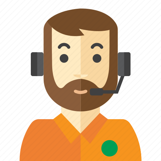beard, call, customer, man, service icon