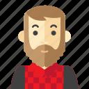 beard, check, man, red