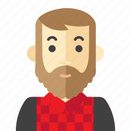 beard, check, man, red icon