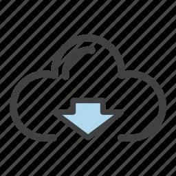 arrow, cloud, down, download, receive icon