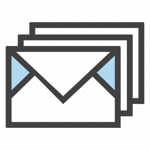 email, emails, envelopes, letters, mails, multiple icon