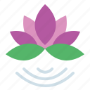 beauty, botanical, flower, lotus icon