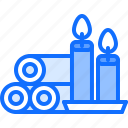 beauty, candle, cosmetics, spa, towel icon