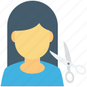 hair cutting, hair salon, hair styling, hairdressing, scissor icon