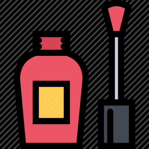 beauty, cosmetics, hairstyle, nail polish, spa salon icon