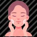 apply, cream, face, foam, moisturized, skincare, woman icon