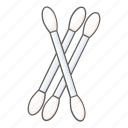 cotton buds, cotton stick, cotton swabs, ear, stick, swipe, tip icon