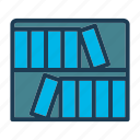 bed, bookshelf, furniture, home, hotel, night, room icon