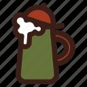 beer, brewing, head, stein