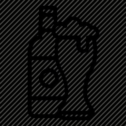 bar, beer, beer bottle, bottle, drinks, glass icon